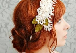 Audrey - ivory lace, feather, floral crown by Bellafaye Garden